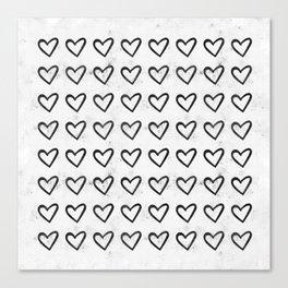 Big Heart Ink Pattern Canvas Print