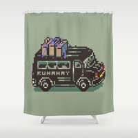 earthbound Shower Curtains featuring Runaway 5 Van - Mother 2 / Earthbound by Studio Momo╰༼ ಠ益ಠ ༽