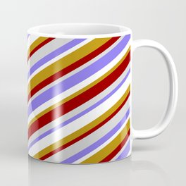 Vibrant White, Dark Goldenrod, Dark Red, Light Grey, and Medium Slate Blue Colored Lines Pattern Coffee Mug