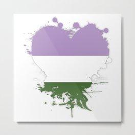 Genderqueer Heart Metal Print