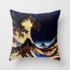 The GREAT Wave Midnight Blue Brown Throw Pillow