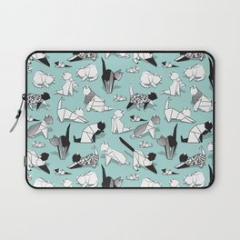 Origami kitten friends // aqua background paper cats Laptop Sleeve