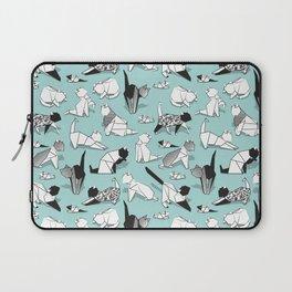 Origami kitten friends // aqua background paper cats Laptop Sleeve