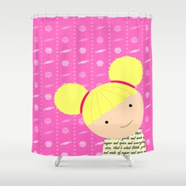 Pink Sugar and Spice Little Blonde Girl Illustration Shower Curtain