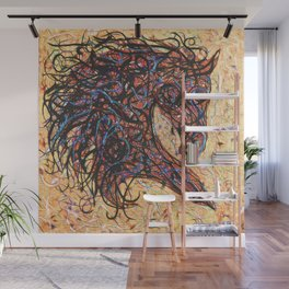 Abstract Horse Digital Ink Pollock Style Wall Mural