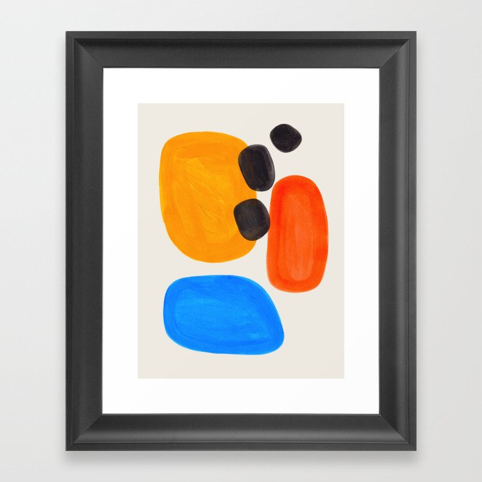 Minimalist Modern Mid Century Colorful Abstract Shapes Primary Colors Yellow Orange Blue Bubbles Gerahmter Kunstdruck
