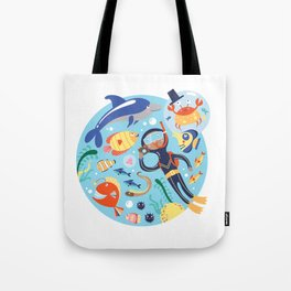 Under The Sea with a Diver Tote Bag
