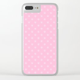 White on Cotton Candy Pink Snowflakes Clear iPhone Case