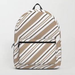 Pantone Hazelnut Nutmeg and White Thick and Thin Angled Lines - Stripes Backpack