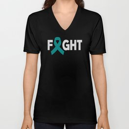 Fight Ovarian Cancer. Cancer gift. Cancer survivor gift. Breast cancer Unisex V-Neck