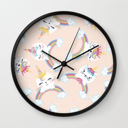 Cute unicorn cat seamless pattern for kids Wall Clock