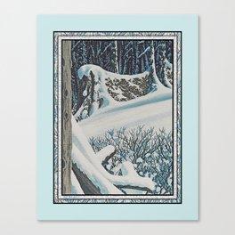 WINTER'S LAST FIREWOOD VINTAGE OIL PAINTING Canvas Print