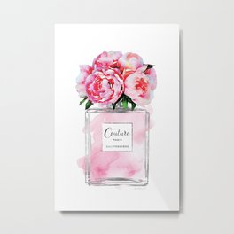 Perfume, watercolor, perfume bottle, with flowers, pink, Silver, peonies, Fashion illustration Metal Print