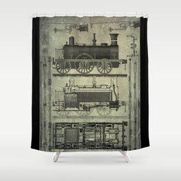 Vintage Train Design Shower Curtain