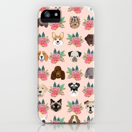 Dogs and cat breeds pet pattern cute faces corgi boston terrier husky airedale iPhone Case
