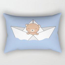 Kawaii Cute Brown Bear On A Boat Rectangular Pillow