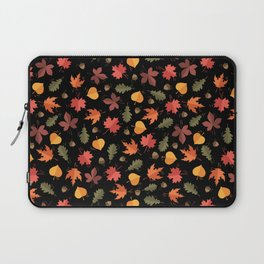 Autumn Leaves Pattern Black Background Laptop Sleeve