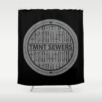 tmnt Shower Curtains featuring TMNT SEWERS by Resistance