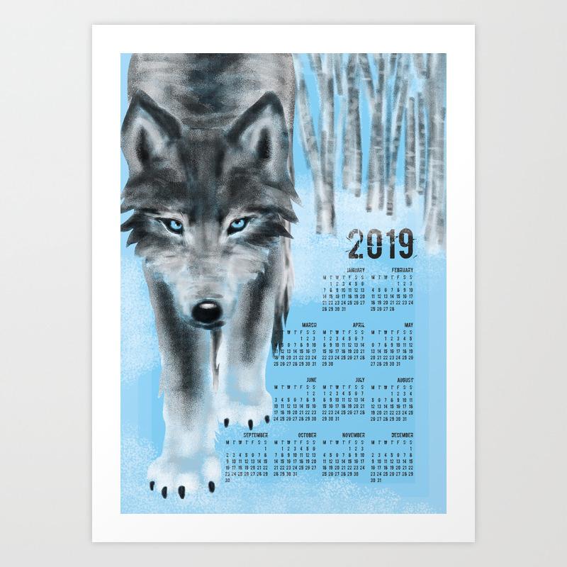 February 2019 Wolf Calendar 2019 Wolf Calendar Art Print by boissindesign | Society6