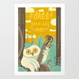 Forest Music Fest Contrabass Owl Art Print