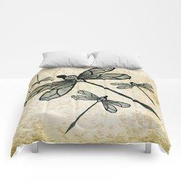 Dragonflies on tan texture Comforters