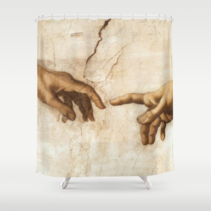 Michelangelo Creation of Adam Hands Shower Curtain