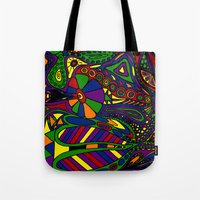 psychadelic Tote Bags featuring Psychadelic by Groolya