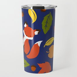 Fox Jumble - Blue Travel Mug