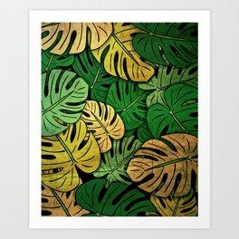 Grunge Monstera Leaves Art Print