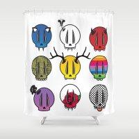 skulls Shower Curtains featuring Skulls by Aillustrations