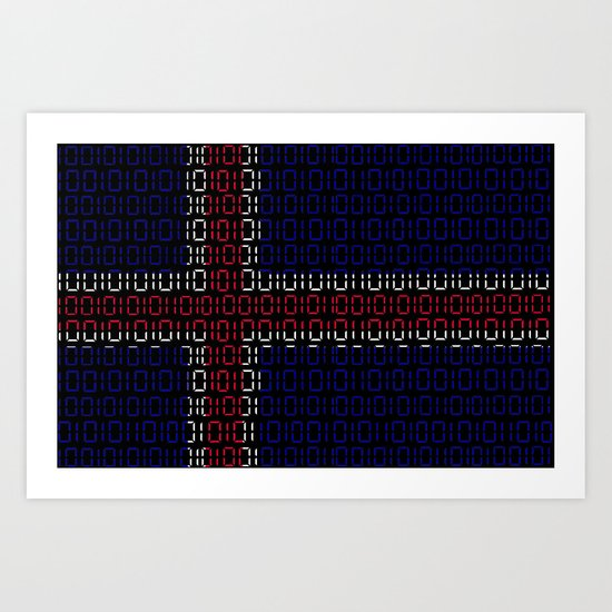 digital Flag (iceland) Art Print