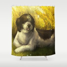 Jake: Sheepdog Portrait Shower Curtain
