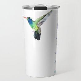 Hummingbird with tropical leaves watercolor design Travel Mug