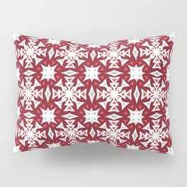 Snowflakes on Red Pillow Sham