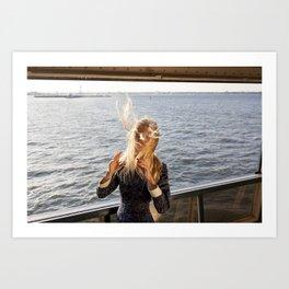 The Ferry, Windy Art Print