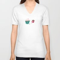sprinkles V-neck T-shirts featuring Mr. Sprinkles by Phil Wohlrab
