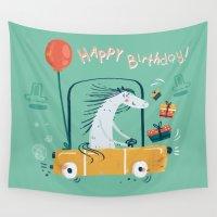 birthday Wall Tapestries featuring Happy birthday! by Villie Karabatzia