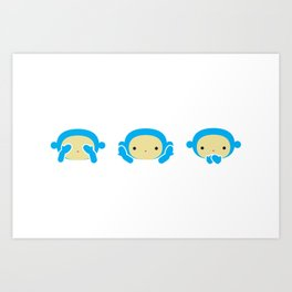 3 Wise Monkeys Art Print