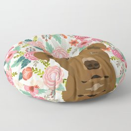 Pitbull floral dog portrait pibble peeking face gifts for dog lover Floor Pillow