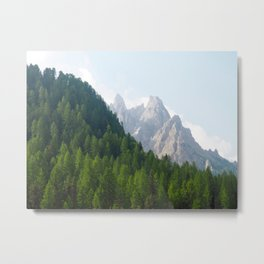 Forest Pines and Mountain Spikes Metal Print