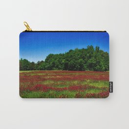 Picturesque crimson clover amid hidden meadow in the forest Carry-All Pouch