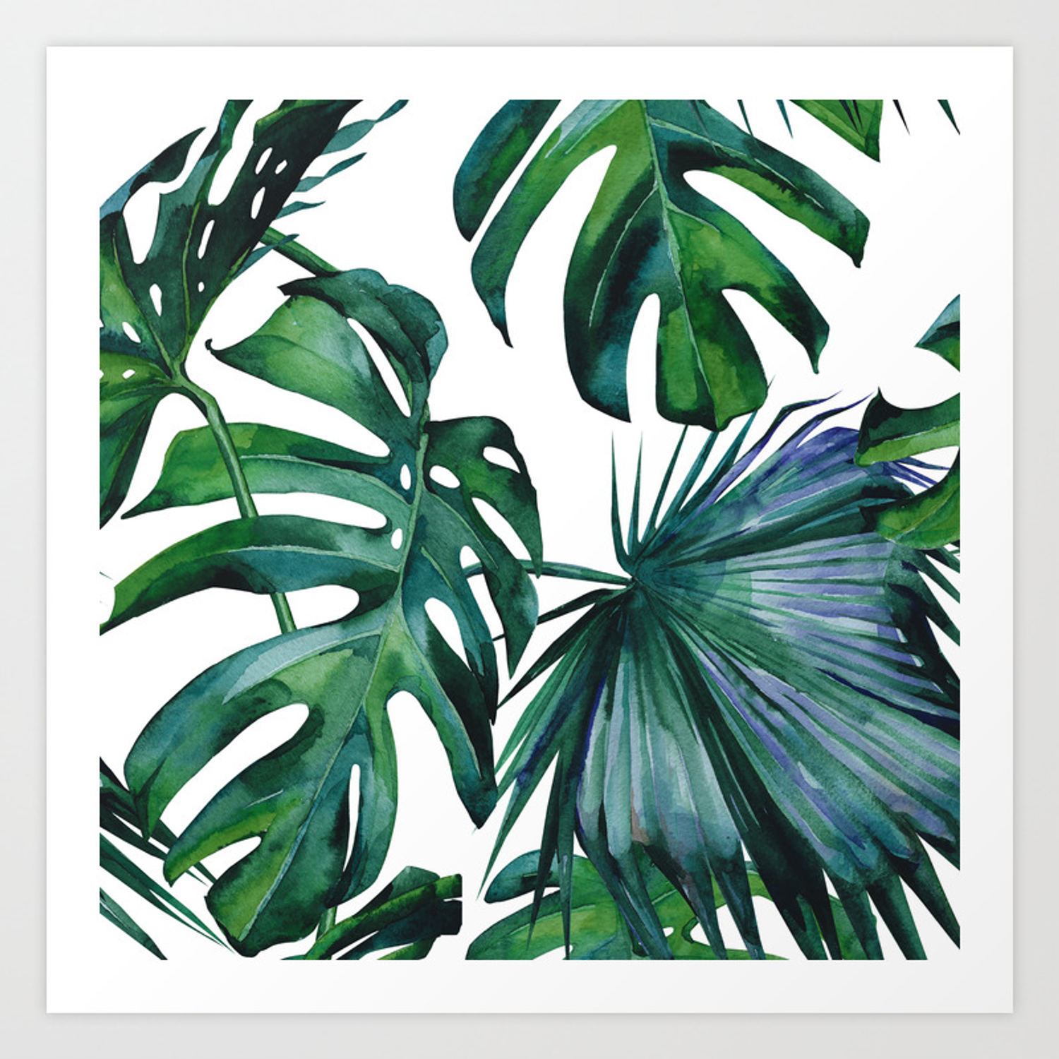 Tropical Palm Leaves Classic Art Print By Followmeinstead Society6 Tropical leaf, printable art, monstera leaves, tropical leaves, tropical decor, green wall decor, instant download, wall art. tropical palm leaves classic art print by followmeinstead