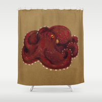coconut wishes Shower Curtains featuring Coconut Octopus by Jenji