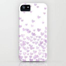 Hearts falling painted pastels purple heart pattern minimal art print nursery baby art iPhone Case