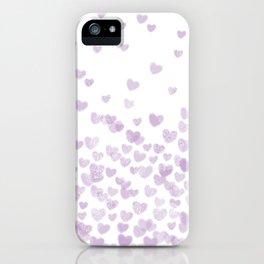 Hearts falling painted pastels purple heart pattern minimal art print nursery baby art iPhone Case