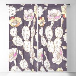 Modern white gold mauve lavender catus floral Blackout Curtain