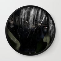 kakashi Wall Clocks featuring Hatake Kakashi by Raquel Rojas Gómez
