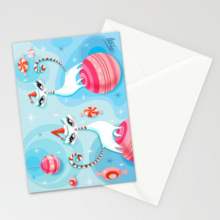 Mod Kitty Christmas Stationery Cards