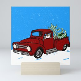 Pit Bull In Old Red Truck With Whimsical Christmas Tree Mini Art Print
