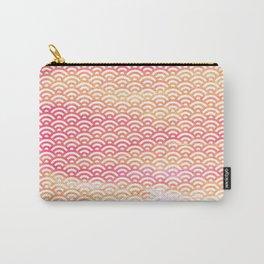 Fuchsia/Orange/Peach Watercolor Seigaiha Pattern Carry-All Pouch